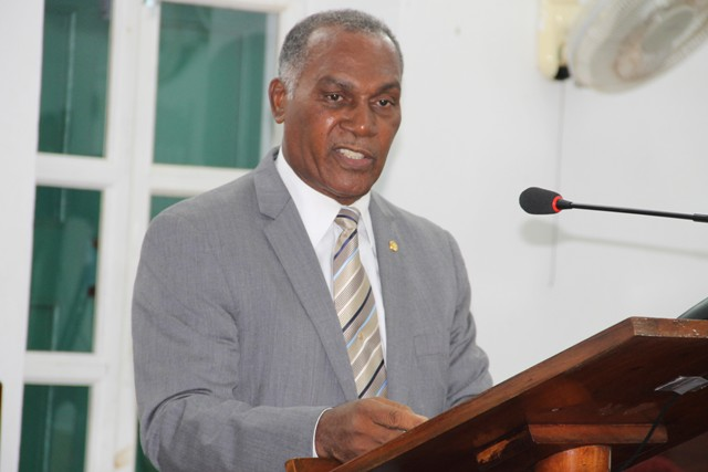 Hon. Vance Amory, Premier of Nevis and Minister of Finance in the Nevis Island Administration, making a presentation at a sitting of the Nevis Island Assembly on July 12, 2016