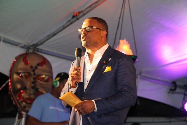 Deputy Premier of Nevis and Minister of Culture Hon. Mark Brantley officially launching Culturama 42 at the Charlestown waterfront on July 21, 2016