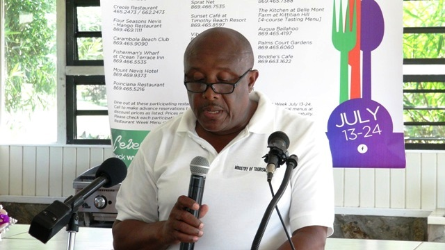 Permanent Secretary in the Ministry of Tourism on Nevis Carl Williams delivering remarks at the St. Kitts and Nevis Restaurant Week Tasting Showcase at the Mount Nevis Hotel on July 15, 2016