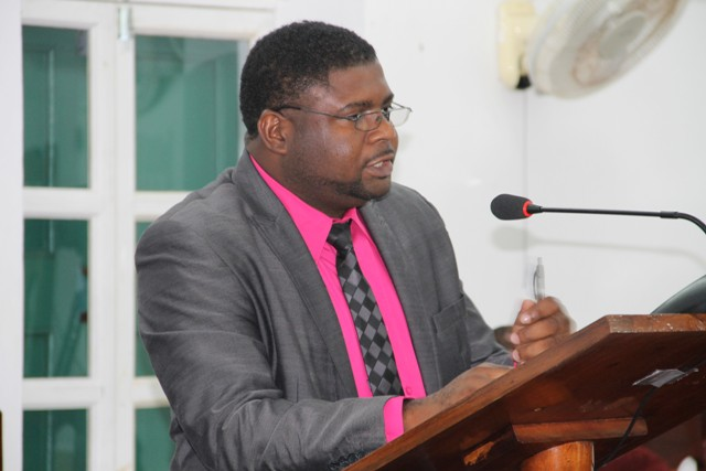 Hon. Troy Liburd, Junior Minister in the Ministry of Communication and Works in the Nevis Island Administration making his presentation at a sitting of the Nevis Island Assembly on July 12, 2016
