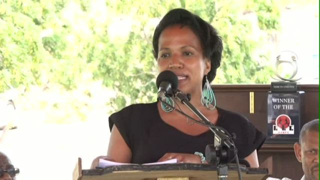 Nicole Slack-Liburd, Permanent Secretary in the Ministry of Health on Nevis delivering remarks at the launch of the FIT Games at Bath Plain recently