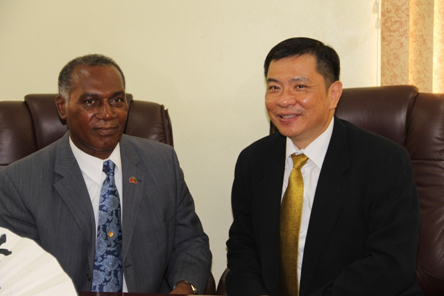 Premier of Nevis Hon. Vance Amory with the Republic of China (Taiwan) Resident Ambassador to St. Kitts and Nevis His Excellency George Gow Wei Chiou (file photo)