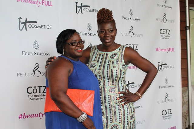 Nevis-born Emmy Award winning hair stylist Petula Skeete (right) with Minister responsible for Youth on Nevis Hon. Hazel Brandy-Williams at the end of her #beautyFULL Women's Conference at the Four Seasons Resort  on July 03, 2016