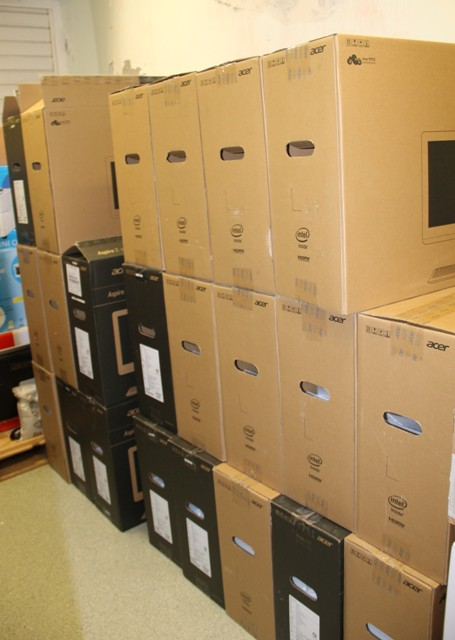 The computers donated by the Republic of China (Taiwan) to the Nevis Island Administration on July 25, 2016 at the Alexandra Hospital's conference room for use in the e-Hospital project