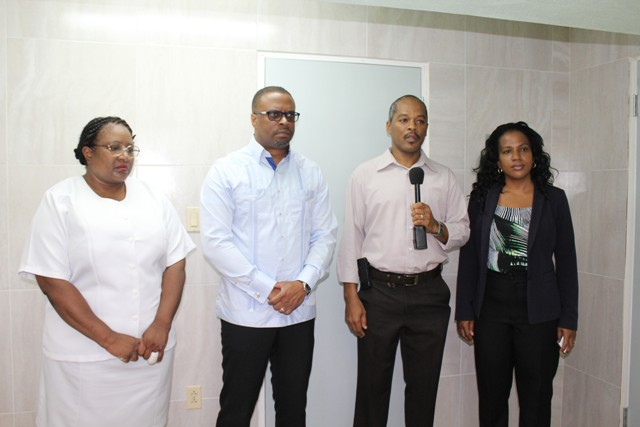 (l-r) Acting Matron at the Alexandra Hospital Jessica Scarborough, Deputy Premier and Minster of Health in the Nevis Island Administration Hon. Mark Brantley, Permanent Secretary in the Ministry of Health Nicole Slack-Liburd and Hospital Administrator Gary Pemberton on a tour at the Alexandra Hospital on July 15, 2016