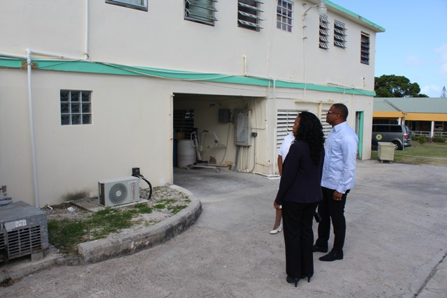 Acting Matron at the Alexandra Hospital Jessica Scarborough, Deputy Premier and Minster of Health in the Nevis Island Administration (NIA), Hon. Mark Brantley and Permanent Secretary in the Ministry of Health on Nevis Nicole Slack-Liburd observing the renovations done to the Alexandra Hospital during a tour of the hospital on July 15, 2016