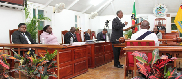 Premier of Nevis and Minister of Finance Hon. Vance Amory at a sitting of the Nevis Island Assembly in Chambers at Hamilton House (file photo)