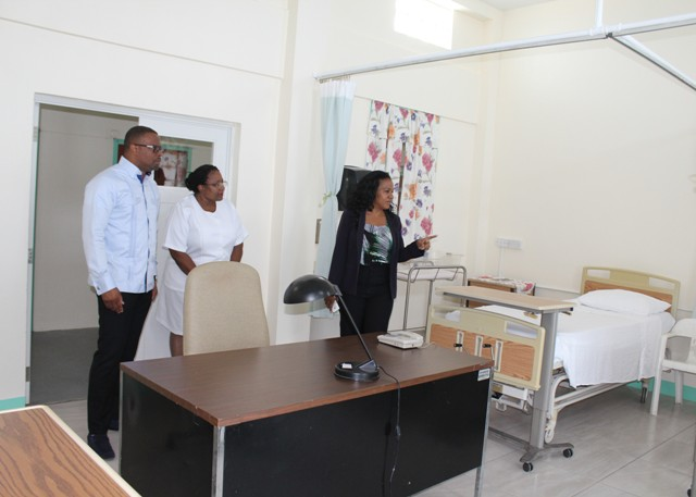 (l-r) Minister of Health Hon. Mark Brantley, Acting Matron at the Alexandra Hospital Jessica Scarborough and Permanent Secretary in the Ministry of Health Nicole Slack-Liburd touring the maternity ward at the Alexandra Hospital on July 15, 2016 after renovations