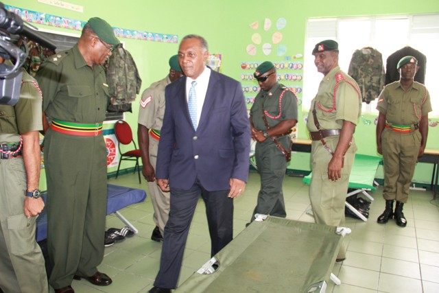 Premier of Nevis and Minister of Security, inspects the barracks at the St. Kitts-Nevis Defence Force training camp at the Elizabeth Pemberton Primary School at Cole Hill on August 25, 2016