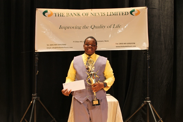 St. Kitts and Nevis top 2016 Caribbean Secondary Education Certificate examinations student Rol-J Williams, after his win at the Bank of Nevis Tourism Youth Congress in 2014