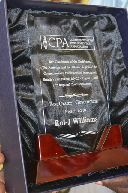 The Best Orator – Government award presented to Rol-J Williams at the Commonwealth Parliamentary Association's 40th Conference of the Caribbean, the Americas and the Atlantic Region at the 11th Regional Youth Parliament in the British Virgin Islands in 2015