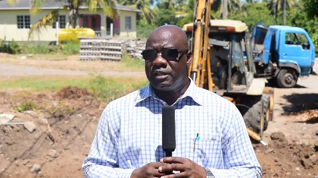 Hon. Alexis Jeffers, Area Representative for the St. James' Parish and Minister responsible for Communication and Works in the Nevis Island Administration at Barnaby Village at the site of ongoing improvement works to a key bridge on August 23, 2016