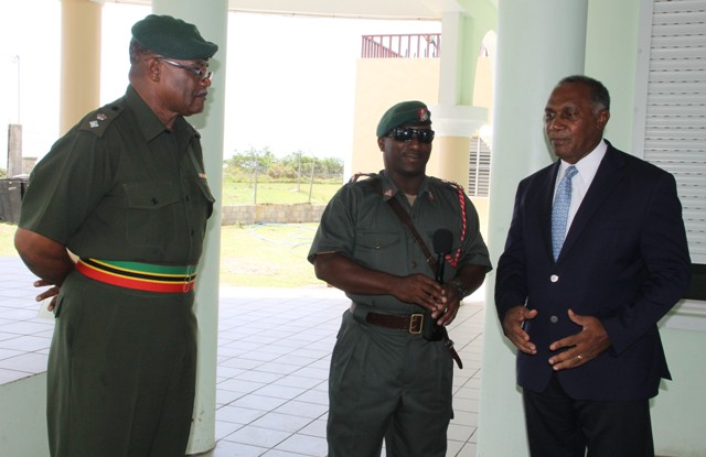 (Extreme right) Premier of Nevis and Minister of Security Hon. Vance Amory with senior officers of the St. Kitts and Nevis Defence Force (l-r) Commander of the St. Kitts-Nevis Defence Force Lieutenant Colonel Patrick Wallace and Captain Winslow Brookes visiting the training camp at the Elizabeth Pemberton Primary School at Cole Hill on August 25, 2016