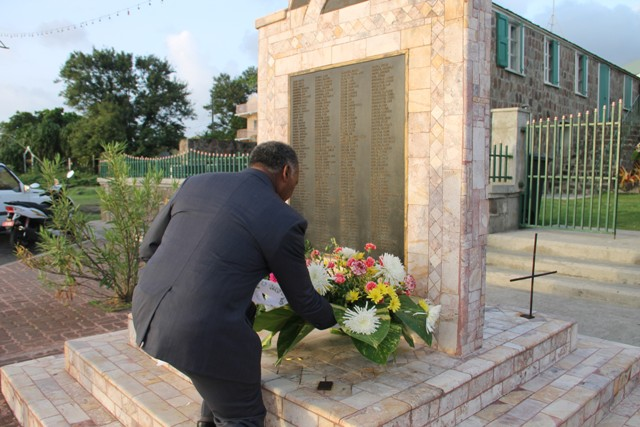 Premier of Nevis Hon. Vance Amory lays a wreath at the Christena Memorial on Hunkins Drive at the 46th annual Memorial Service of the MV Christena Disaster on August 01, 2016
