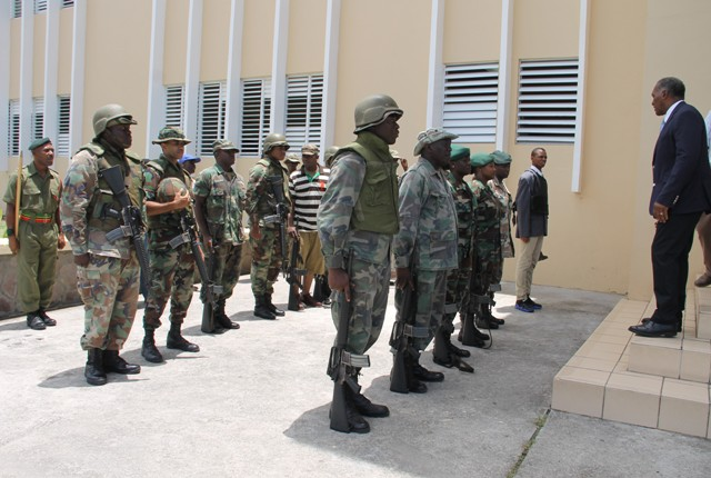 Premier of Nevis and Minister of Security Hon. Vance Amory thanks members of the St. Kitts and Nevis Defence Force Reserve Corps at a training camp at the Elizabeth Pemberton Primary School at Cole Hill on August 25, 2016