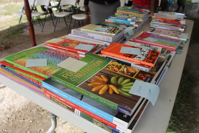 Some of the EC$4000 worth of text books donates to students of Cane Gardens on August 15, 2016 as part of the Cane Garden Community Improvement Club Incorporated Text Book Initiative Drive