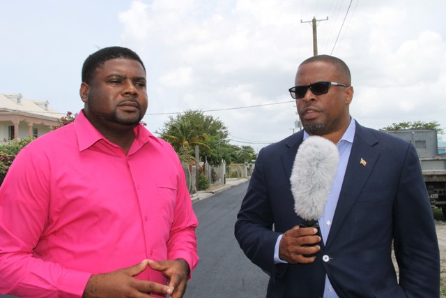 (L-r) Junior Minister in the Ministry of Communication and Works Hon. Troy Liburd and Deputy Premier and Area Representative for the St. Johns Parish Hon. Mark Brantley at the new Lower Farms/Bath Plain road on July 29, 2016
