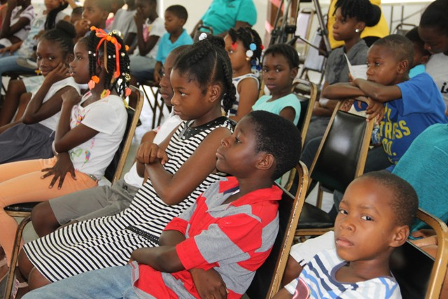 A section of the participants at the opening ceremony of the Nevis Public Library summer programme at the Charlestown Methodist Church Hall on August 03, 2016