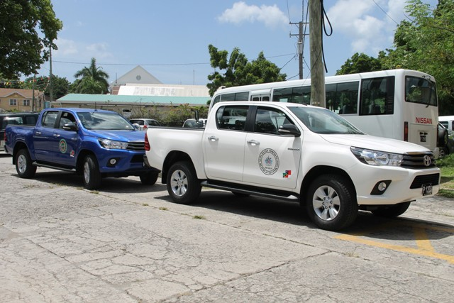 Two brand new Toyota trucks, a gift from the government and people of the Republic of China (Taiwan) to the Nevis Island Administration, for use in environmental programmes at the Ministry of Health's Port Health Unit and the Nevis Solid Waste Management Unit