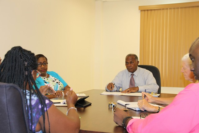 Premier of Nevis Hon. Vance Amory addressing executive members of the Nevis Division of the St. Kitts and Nevis Chamber of Industry and Commerce (l-r) Patricia Claxton, Alice Tyson, Oscar Walters and Deborah Lellouch at the Premier's Ministry at Pinney's on September 13, 2016