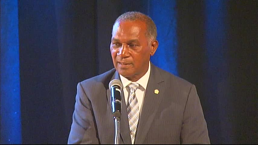 Premier of Nevis Hon. Vance Amory and Minister of Finance in the Nevis Island Administration, delivering an address at the 10th annual Consultation on the Economy hosted by the Ministry of Finance, at the Nevis Performing Arts Centre on September 22, 2016