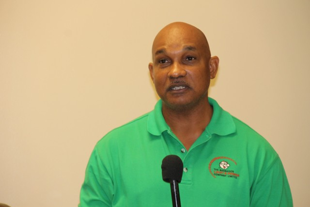 Curtis Brewster, Technical Trainer of The Barbados Light & Power Company Limited delivering remarks at the opening ceremony of a one-week workshop for linesmen at the Nevis Electricity Company Ltd. on Transmission and Distribution at their conference room on September 05, 2015