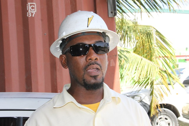 Julian Richardson, an operator with the Transmission and Distribution Department at the Nevis Electricity Company Limited at Prospect for the past 18 years, at a training exercise for the Transmission and Distribution Department at the Nevis Electricity Company Limited on September 14, 2016