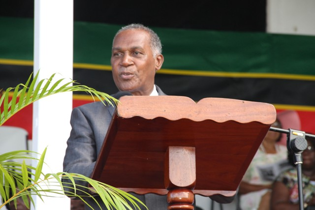 Premier of Nevis Hon. Vance Amory delivering an address at the Ceremonial Parade and Awards Ceremony to mark the 33rd Anniversary of the Independence of St. Kitts and Nevis at the Elquemedo T. Willett Park on September 19, 2016