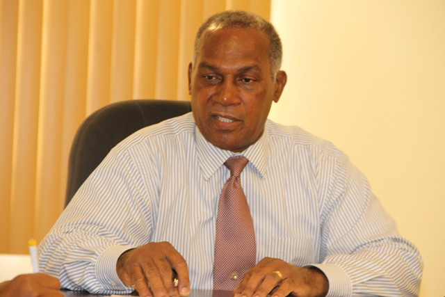 Premier of Nevis Hon. Vance Amory at a meeting with members of the Nevis Division of the St. Kitts and Nevis Chamber of Industry and Commerce at the Premier's Ministry on September 13, 2016