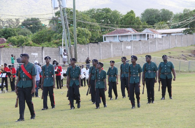 The contingent from the cadet corps on display at the Independence Day Parade and Awards Ceremony at the Elquemedo T. Willett Park on September 19, 2016