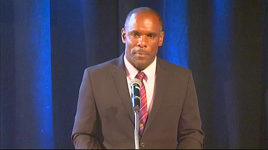 Permanent Secretary in the Ministry of Finance Colin Dore delivering an address at the at the 10th annual Consultation on the Economy hosted by the Ministry of Finance, at the Nevis Performing Arts Centre on September 22, 2016