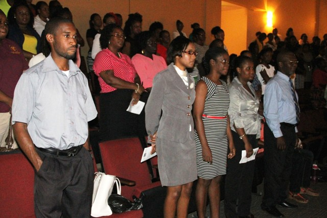 A section of teachers and school auxiliary staff on Nevis at the Department of Education's annual Back to School opening ceremony at the Nevis Performing Arts Centre on August 29, 2016