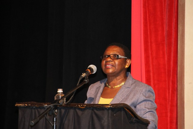 Palsy Wilkin, Principal Education Officer in the Department of Education on Nevis delivering remarks at the annual Back to School exercise at the Nevis Performing Arts Centre on August 29, 2016