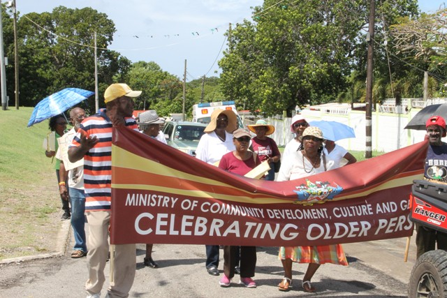 A contingent of senior citizens from St. Kitts marching against ageism in Charlestown with their Nevis counterparts on October 07, 2016, as part of the Month of Older Persons hosted by the Seniors Division in the Department of Social Services, Ministry of Social Development in the Nevis Island Administration