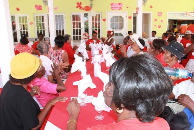 A group of seniors on Nevis at a Valentine's Day luncheon at Lyn's Deli earlier this year hosted by the Seniors Division in the Department of Social Services, Ministry of Social Development in the Nevis Island Administration
