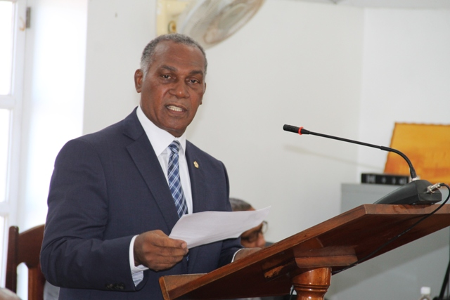 Premier of Nevis Hon. Vance Amory presenting the 2017 Budget Address at the Nevis Island Assembly, Hamilton House on November 30, 2016
