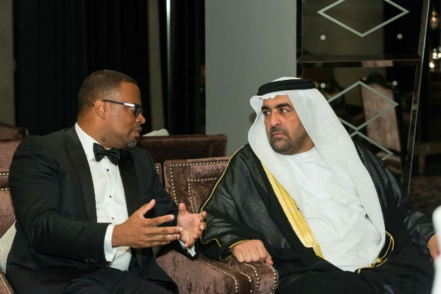 Minister of Foreign Affairs in St. Kitts and Nevis Hon. Mark Brantley with Guest of Honour at the Federation's 33rd Independence celebrations in Dubai on November 26, 2016, His Excellency Dr. Rashid Ahmed Mohammad Al Fahed - Minister of State of the United Arab Emeraites
