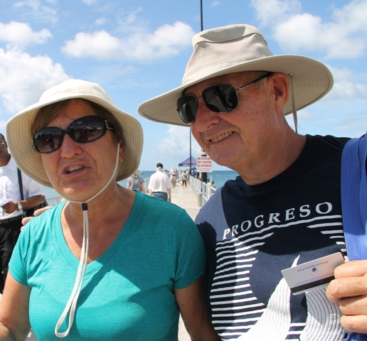 Prinsendam cruise passengers Colly and Bob from Ontario, Canada visiting Nevis on November 23, 2016
