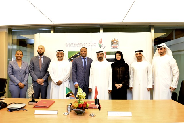(L-r) DCG Elsa Wilkin Armbrister, CG Justin Hawley, His Excellency Saif Mohammed Al Suwaidi, Foreign Affairs Minister in St. Kitts and Nevis Hon. Mark Brantley, Sheikh Ahmed bin Saeed Al Maktoum, Her Excellency Reem Al Hashimi, Abdulla Youseef Al Hosani - Lawyer and Manager of Air Transport Agreements, and Ahmd Abdulhamid Almulla - Desk Officer with responsibility to the Caribbean