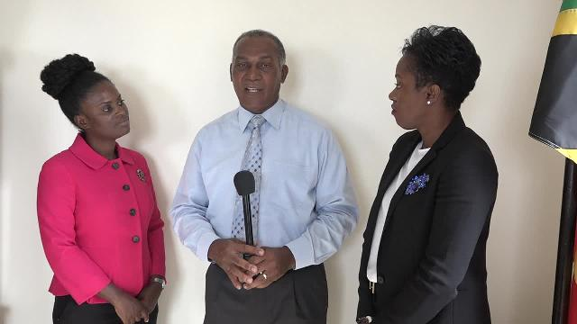 Representatives from the Commonwealth Secretariat in London (left) Mrs. Lebrechtta Nana Oye Hesser-Bayne, Director of Shiddan Sustainable Development Solutions Ltd. and (right) Dr. Tres-Ann Kremer, Political Adviser in the Secretariat's Political Division who takes the lead on Caribbean issues visiting with Premier of Nevis Hon. Vance Amory at his Pinney's office on November 21, 2016