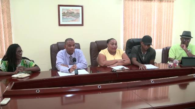 Members of the Gingerama Festival Committee (l-r) Ester Brookes, Eric Evelyn, Nikieta Liburd, Shane Browne and Antonio Liburd at a press conference to launch the 2016 Gingerama Festival at the Ministry of Finance conference room on November 17, 2016