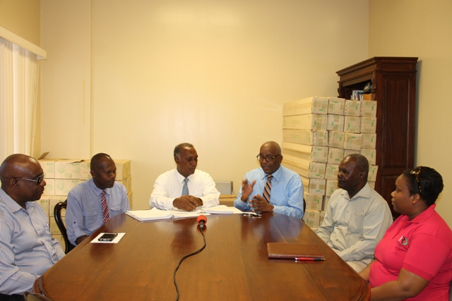 (l-r) Generation Manager at the Nevis Electricity Company Limited Earl Springette; Acting General Manager of Nevis Electricity Company Limited [NEVLEC] Jervan Swanston; Premier of Nevis Hon. Vance Amory; Wӓrtsilӓ representative, Rodney George, Vice President of Wӓrtsilӓ Caribbean, Inc.; Farrell Smithen Chairman of the Board of the Nevis Electricity Company Limited; and Member of the Board Janesha Daniel at the Nevis Electricity Company Limited's Board Room on Long Point Road on November 25, 2016, at the signing ceremony between the NEVLEC and Wӓrtsilӓ for the provision of a 3.85 megawatt engine
