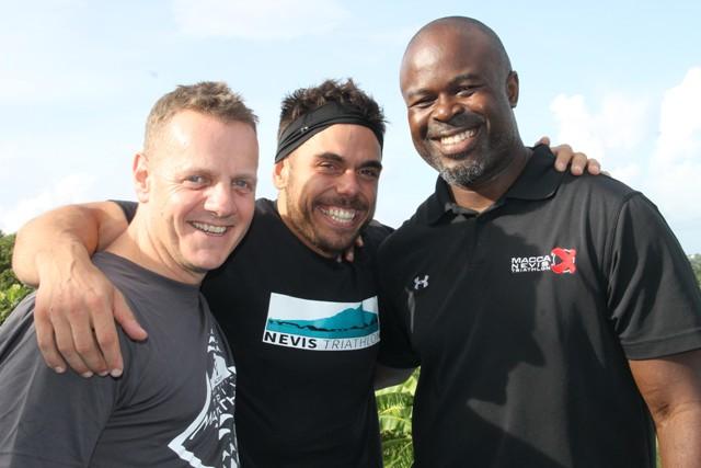 (L-r) Tim Lloyd, organiser with the Nevis Triathlon, Race Director for the Nevis Triathlon Greg Phillip with Athlete Adventurer Ross Edgley