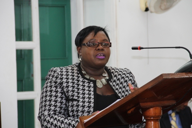 Junior Minister in the Ministry of Social Development Hon. Hazel Brandy-Williams at a siting to the Nevis Island Assembly on December 01, 2016
