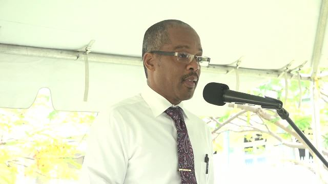 Gary Pemberton, Administrator at the Alexandra Hospital on Nevis delivering a report on the hospital at the Alexandra Hospital's Annual Christmas Programme at the hospital's grounds on December 19, 2016