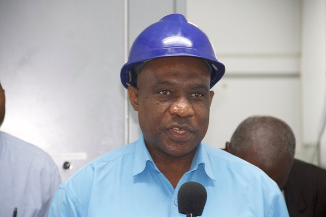 "Generation Manager at the Nevis Electricity Company Limited Earl ""Bobby"" Springette delivering remarks at a ceremony to commission a MP36 2.5 megawatt generating set at the Prospect Power Plant on December 21, 2016"