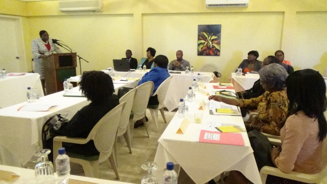 Junior Minister responsible for Gender Affairs on Nevis Hon. Hazel Brandy-Williams delivering remarks at a one-day Women's Forum on the role of women and girls in the 2030 Sustainable Development Goals in collaboration with the United Nations Population Fund (UNFPA) at the Mount Nevis Hotel on November 30, 2016