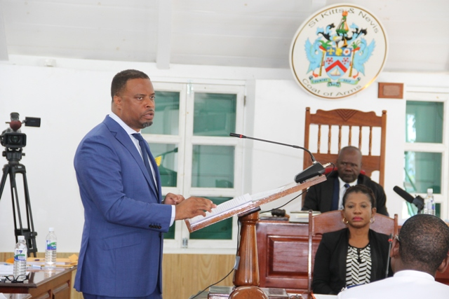 Hon. Mark Brantley, Deputy Premier of Nevis and Minister of Tourism in the Nevis Island Administration delivering his presentation at the Nevis Island Assembly during the 2017 Budget debate on December 02, 2016