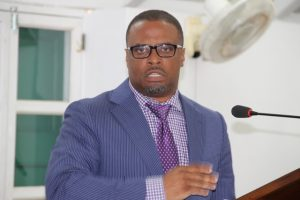 Hon. Mark Brantley Deputy Premier of Nevis and Minister of Health at a sitting of the Nevis Island Assembly (file photo)