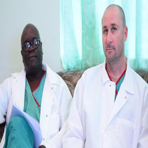 Urologists Dr. Dwayne Thwaites and Dr. Brian Cohen from the annual free Prostate Screening clinics speaking to the media at the Alexandra Hospital on January 12, 2016